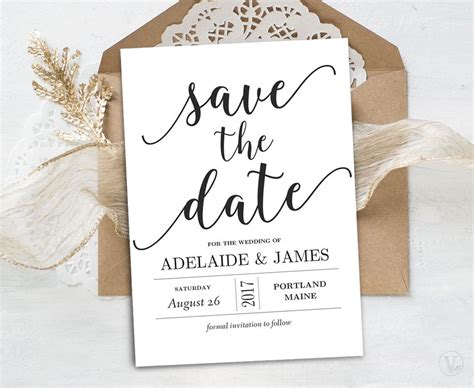 Save The Date Template Printable Save The Date Card Instant Save The Date With Photo Templates