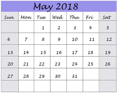 Calendar 2018 May Month May 2018 Printable Wall Calendar Images