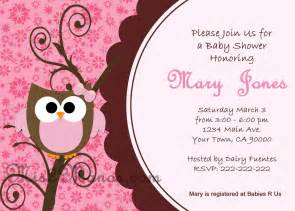 baby shower owl invitations printable pink owl custom order