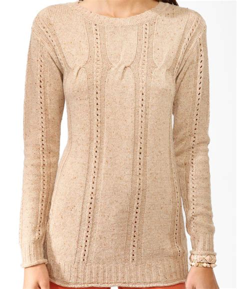 cable knit tunic sweater forever 21 cable knit tunic sweater in beige oatmeal