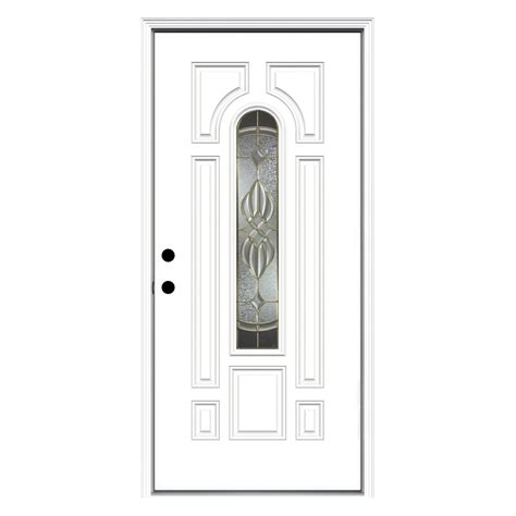 Reliabilt Decorative Glass Doors Shop Reliabilt Prescott Decorative Glass Right Inswing Fiberglass Primed Entry Door Common