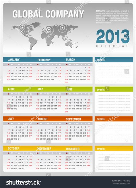 2013 corporate calendar template vector stock vector