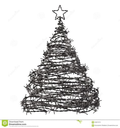 christmas tree made from barbed wire stock illustration
