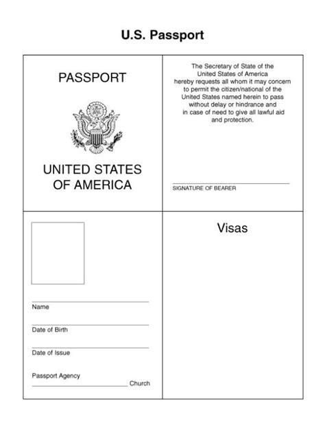 passport template for students passport template vbs 2014