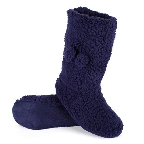 indoor slipper boots soft and fluffy indoor slipper boots with gripper sole ebay