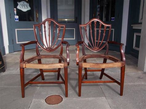 Hepplewhite Dining Room Furniture by Eight American Hepplewhite Mahogany Shield Back Dining
