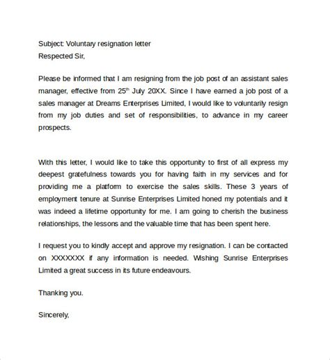 resignation letter format 14 free documents