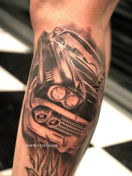 small car tattoo classic grey horus eye by alaingarciatattoos