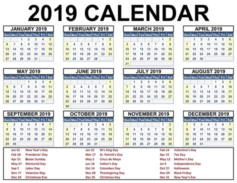 Free Printable 2019 Monthly Calendar With Holidays
