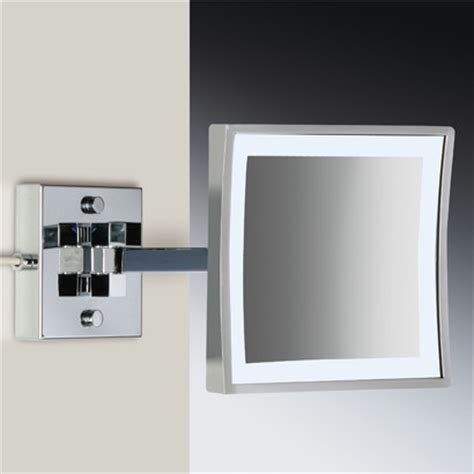 Magnifying Bathroom Mirrors Wall Mounted Square Wall Mounted Led Brass 3x Magnifying Mirror Contemporary Bathroom Mirrors By