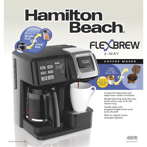 Hamilton Beach FlexBrew® 2 Way Coffee Maker with 12 Cup Carafe & Pod Brewer, Black   49976
