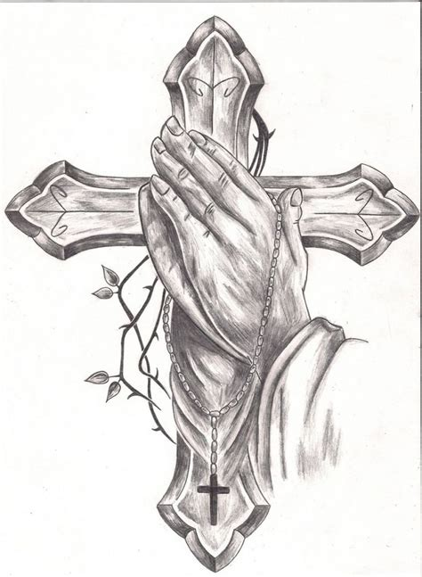 Praying Hands With Rosary And Cross Tattoo Drawing Praying With Rosary And Cross