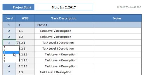work breakdown structure template engineering management