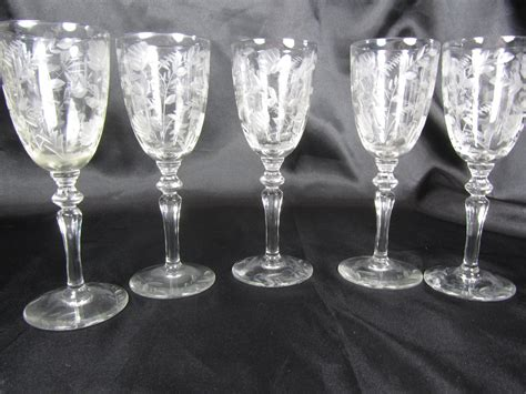 Etched Wine Glasses Vintage Cordial Glasses Etched Glass Wedding Wine Glass