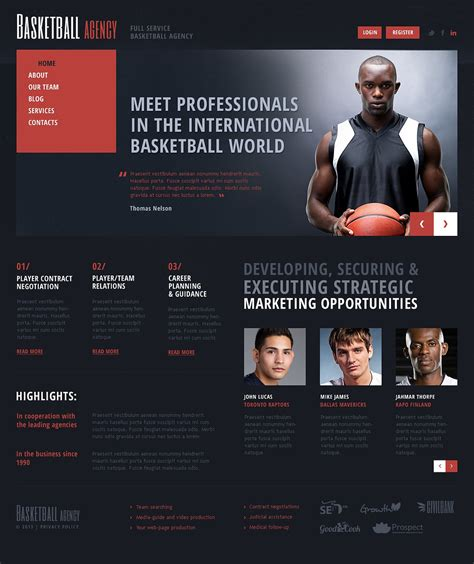 Basketball Joomla Template 44591 Basketball Team Website Template