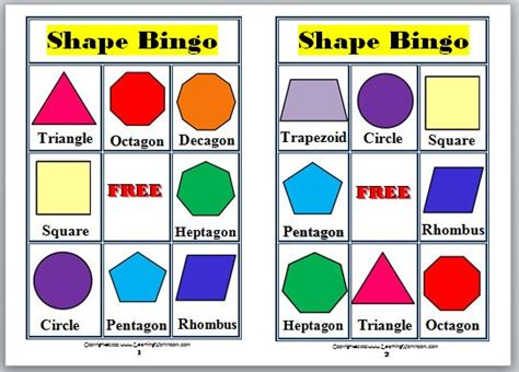 printable bingo cards with shapes learning ideas grades k 8 2 d shapes bingo for kids