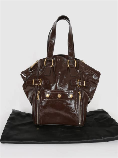 Yves Laurent Downtown Tote by Yves Laurent Downtown Patent Brown Tote Luxury Bags