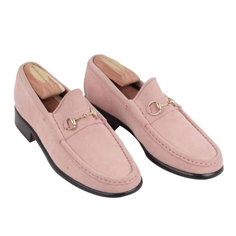 gucci italian vintage pink suede loafers mocassins shoes w