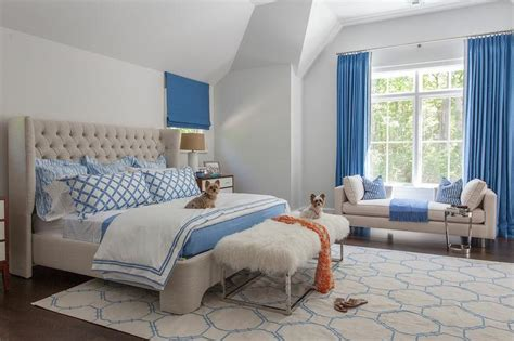 blue and beige bedroom blue beige bedroom features velvet tufted wingback bed