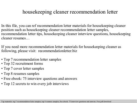Letter Of Recommendation For Housekeeper