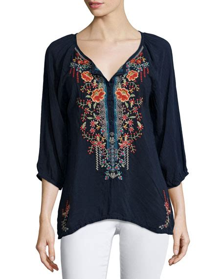 3 4 Sleeve Embroidered Blouse johnny was 3 4 sleeve embroidered blouse neiman
