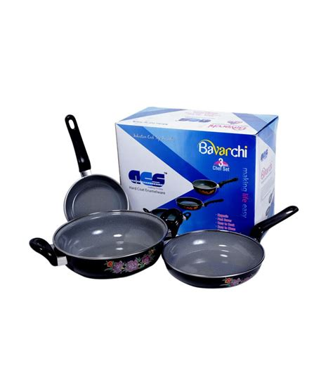 induction cooker utensils price acs bavarchi induction cooker based utensils kit 3 pieces buy at best price in india