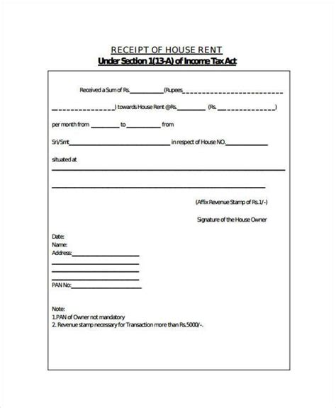 rent receipt template for income tax receipt form in pdf