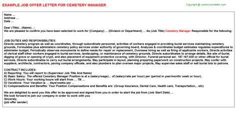 Cemetery Manager Cover Letter by Cemetery Manager Title Docs