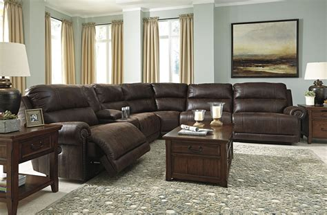 espresso sectional luttrell espresso reclining sectional from ashley 9310140