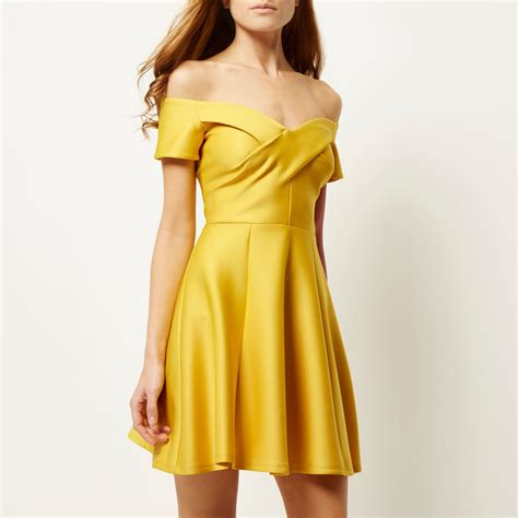 Dress Yellow Scuba lyst river island yellow scuba bardot skater dress in yellow