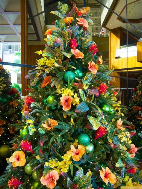 hawaiian style christmas trees and decorations photos go