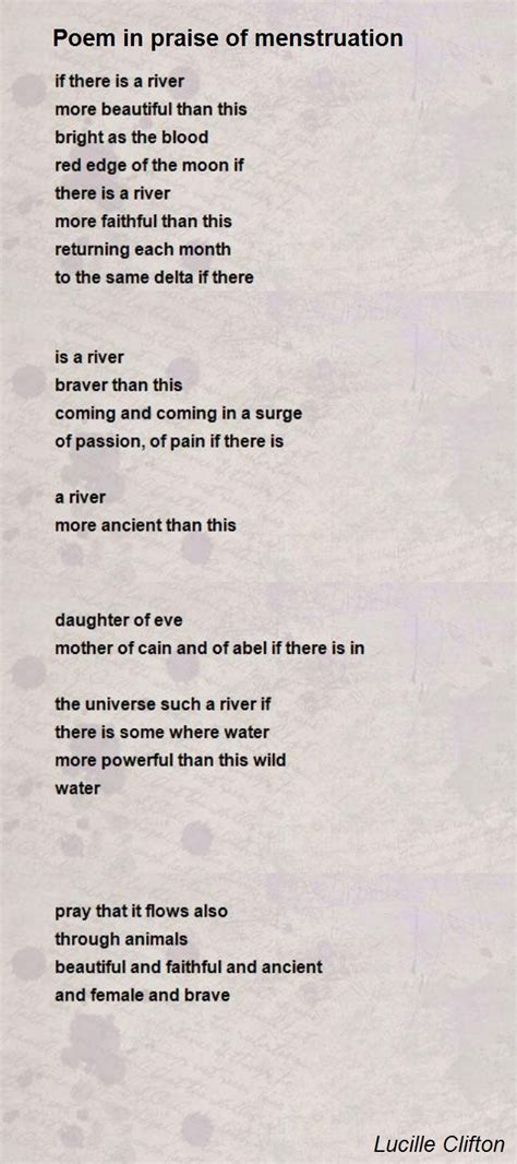 poem for poem in praise of menstruation poem by lucille clifton