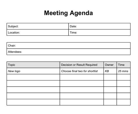 free meeting minutes template