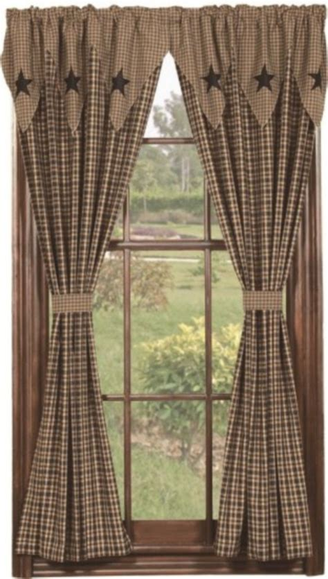 black country curtains barn star layered window 63 quot panels primitive country