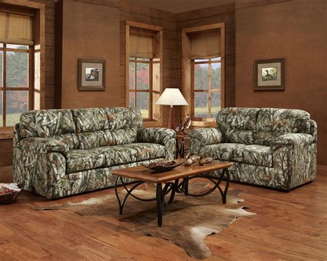 oak livingroom furniture mossy oak camouflage sofa loveseat hunting lodge living