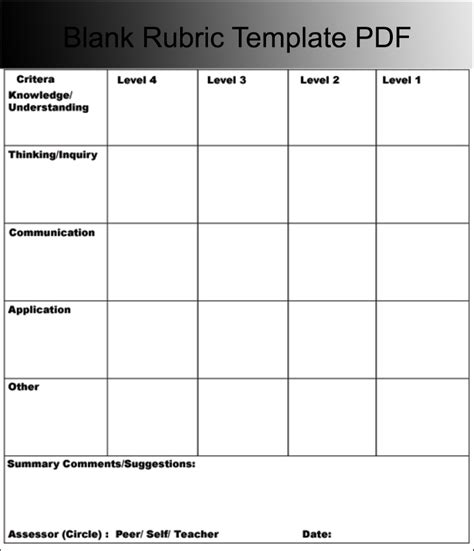 rubric template word rubric templates free pdf word excel format