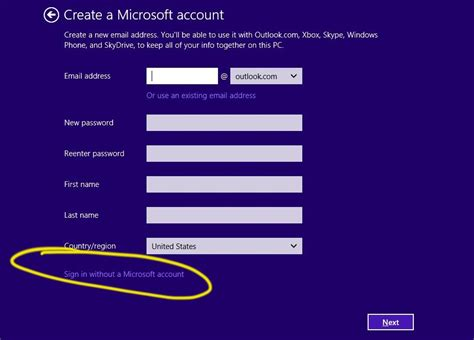 how to create microsoft account microsoft sign up www how to sign into windows 8 or 8 1 without a microsoft