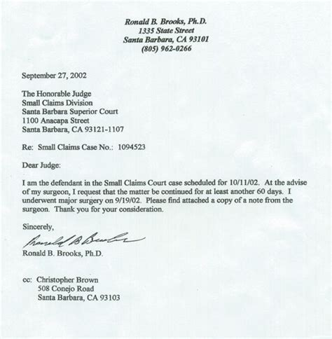 Petition Letter To Court Sb Superior Court 209449 Exhibit 41 Small Claims 1130424 Ronald R Ph D Fraud