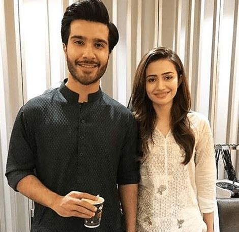 sana javed and feroze khan on set of their upcoming drama
