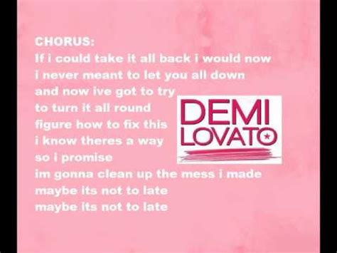 Its Not Late To Get In On The Patent Trend The Bag by Demi Lovato Its Not To Late With Lyrics From C Rock 2