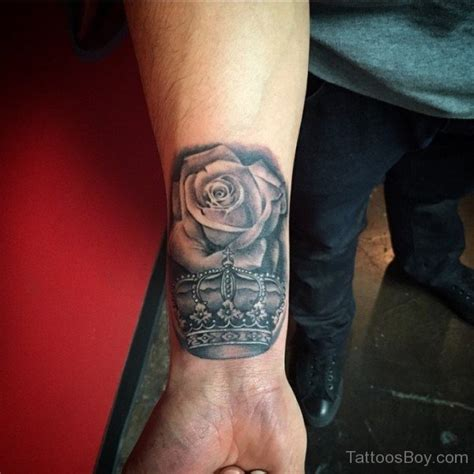 crown with roses tattoo and crown on wrist designs