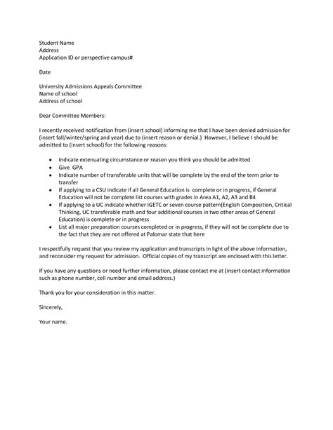 Appeal Letter Exles For College Admissions Best Photos Of College Appeal Letter Sle College Academic Appeal Letter Sle College