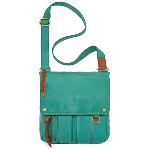 Fossil Crossbody Teal Green fossil leather traveler crossbody bag in green teal lyst