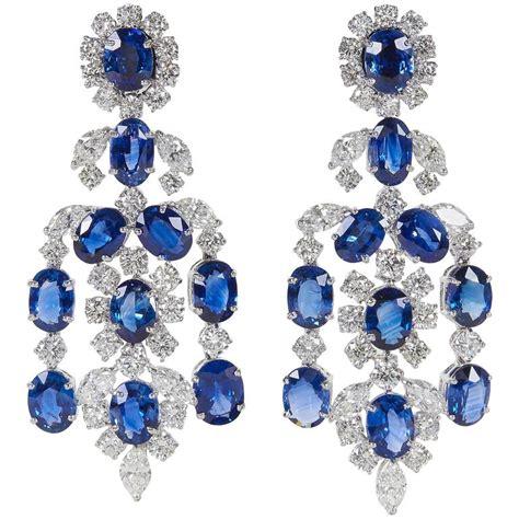 Important Sapphire Diamond Gold Chandelier Earrings For Sapphire Chandelier Earrings