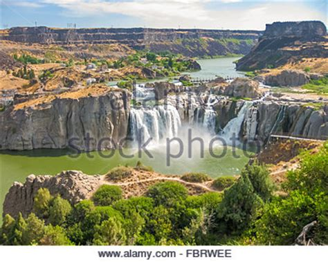 aerial view of shoshone falls and the snake river canyon