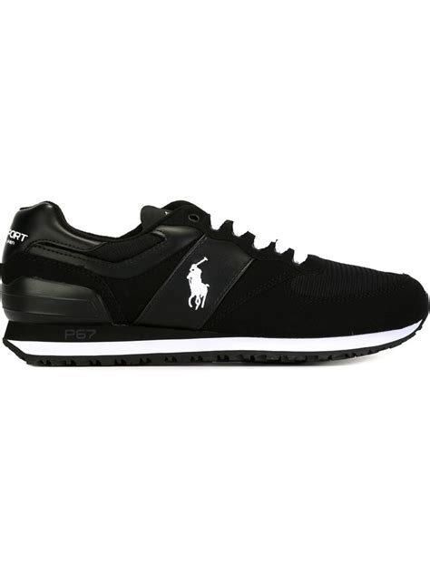 black polo sneakers polo ralph slaton pony suede sneakers in black for