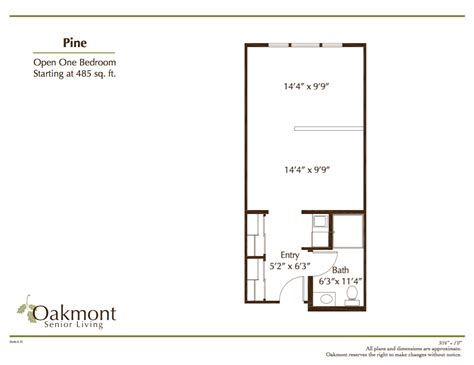Bedroom And More Sf by Pine One Bedroom 485 Sf Oakmont Of Concord