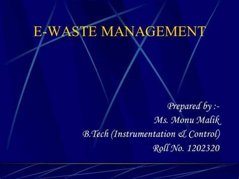 e waste management authorstream