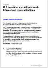 employee it computer use policy template