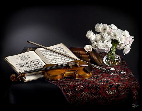 Vintage Floral Duvet Still Life With Violin And Flowers Photograph By Endre Balogh